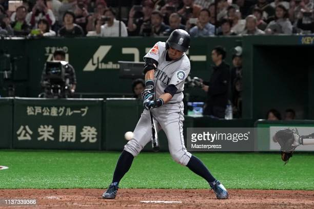 Outfielder Ichiro Suzuki of the Seattle Mariners grounds out in the 8th inning last plate appearance during the game between Seattle Mariners and...