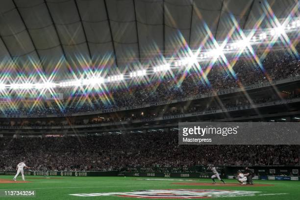 Outfielder Ichiro Suzuki of the Seattle Mariners grounds out in the 8th inning his last plate appearance during the game between Seattle Mariners and...