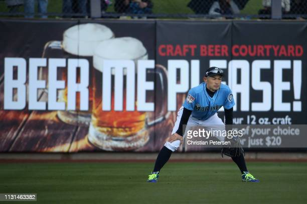Outfielder Ichiro Suzuki of the Seattle Mariners in action during the first inning of the MLB spring training game against the Oakland Athletics at...
