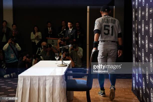 Outfielder Ichiro Suzuki of the Seattle Mariners leaves after his retirement press conference after the game between Seattle Mariners and Oakland...