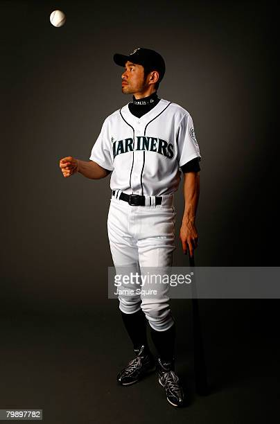 Outfielder Ichiro Suzuki of the Seattle Mariners poses for a portrait during spring training on February 21 2008 at the Peoria Sports Complex in...