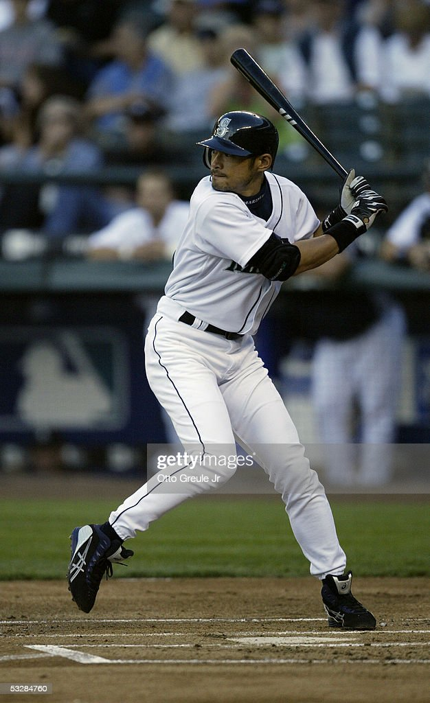 Outfielder Ichiro Suzuki #51 of the Seattle Mariners swings for a Baltimore Orioles pitch during the game on July 14, 2005 at Safeco Field in Seattle Washington. The Orioles won 5-3.
