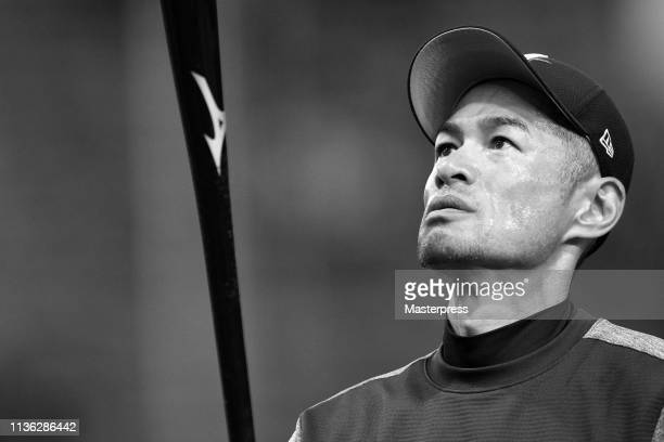 Outfielder Ichiro Suzuki of the Seattle Mariners warms up during a practice session ahead of the game between the Yomiuri Giants and Seattle Mariners...