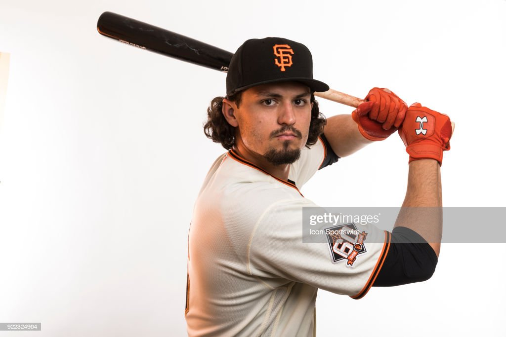 Outfielder Jarrett Parker (6) poses for a photo during the San Francisco Giants photo day on Tuesday, Feb. 20, 2018 at Scottsdale Stadium in Scottsdale, Ariz.