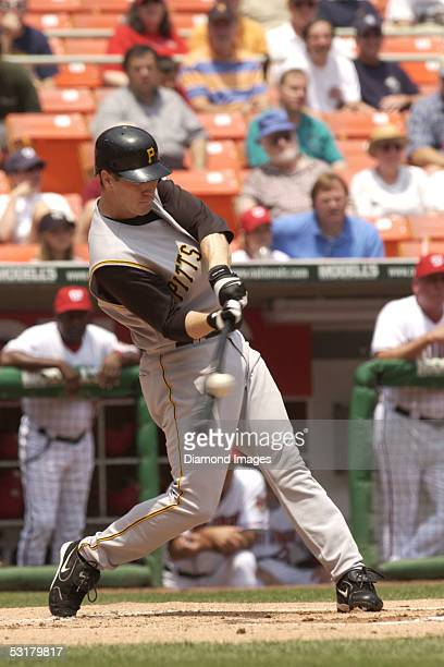 Outfielder Jason Bay of the Pittsburgh Pirates hits the ball during a game on June 30 2005 against the Washington Nationals at RFK Stadium in the...