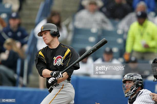 Outfielder Jason Bay of the Pittsburgh Pirates swings at a New York Yankees pitch during their Pre Season opening game on March 3, 2005 at Legends...