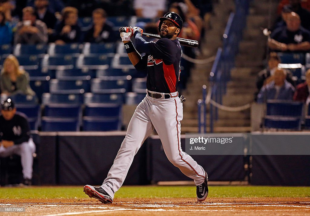 Outfielder Jason Heyward #22 of the Atlanta Braves bats against the New York Yankees during a Grapefruit League Spring Training Game at George M. Steinbrenner Field on March 5, 2013 in Tampa, Florida.