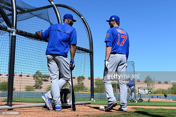 Outfielder Jason Heyward of the Chicago Cubs talks wtih teammate Kris Bryant during batting practice at a spring training workout at Sloan Park on...