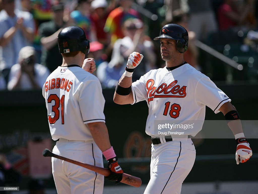 Outfielder Jay Gibbons #31 of the Baltimore Orioles celebrates with his teammate Javy Lopez #18 during the game against the Kansas City Royals at Oriole Park at Camden Yards on May 8, 2005 in Baltimore, Maryland. The Royals defeated the Orioles 10-8.