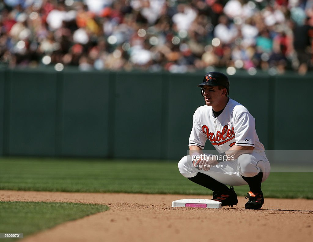 Outfielder Jay Gibbons #31 of the Baltimore Orioles rests during MLB action against the Kansas City Royals at Oriole Park at Camden Yards on May 8, 2005 in Baltimore, Maryland. The Royals defeated the Orioles 10-8.