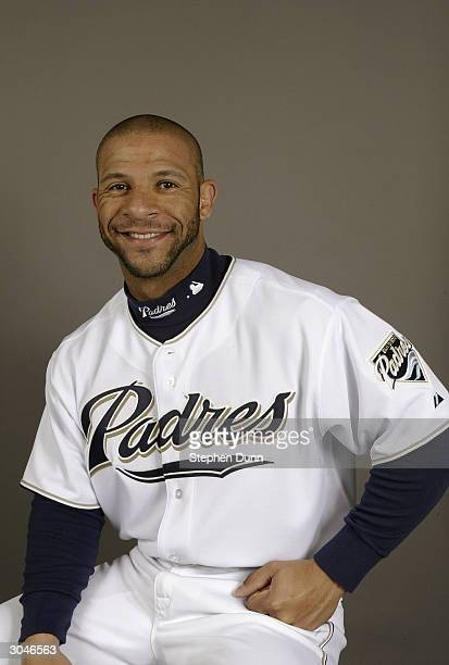 Outfielder Jay Payton of the San Diego Padres poses for a picture during media day at Peoria Sports Complex on February 28 2004 in Peoria Arizona