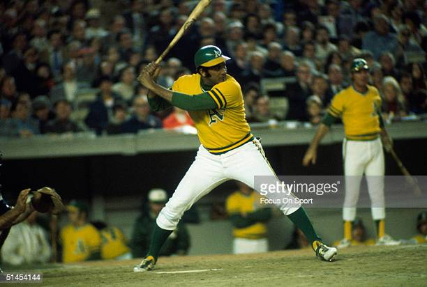 Outfielder Jesus Alou of the Oakland Athletics readies his swing against the New York Mets during the World Series at Shea Stadium on October 1973 in...