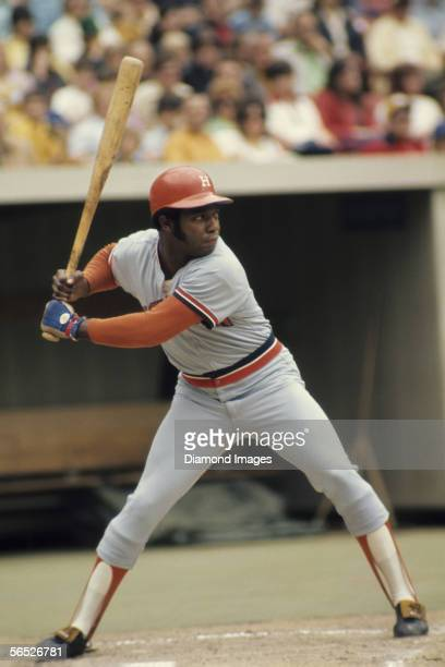 Outfielder Jimmy Wynn of the Houston Astros at at bat during a game in May 1973 against the Pittsburgh Pirates at Three Rivers Stadium in Pittsburgh...
