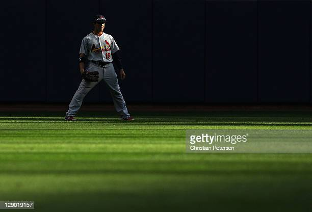 Outfielder Jon Jay of the St Louis Cardinals during Game one of the National League Championship Series against the Milwaukee Brewers at Miller Park...