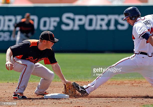 Outfielder Jordan Parraz of the Atlanta Braves is tagged out on a steal attempt by infielder Matt Antonelli of the Baltimore Orioles during a...