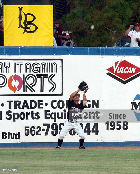 Outfielder Jose Hernandez of the Long Beach State 49ers Dirtbags makes a catch in the NCAA Long Beach Regional against Univeristy of Southern...