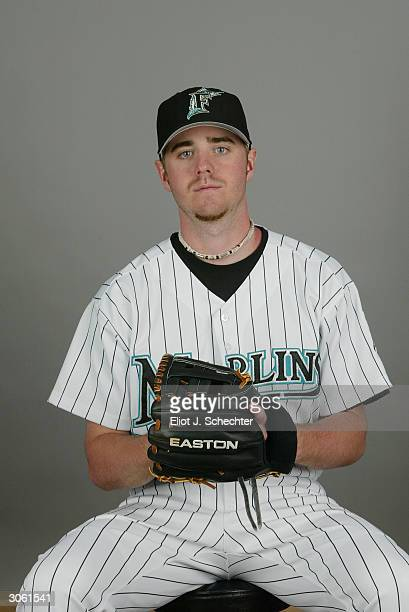 Outfielder Josh Wilson of the Florida Marlins during photo day February 28 2004 at Roger Dean Stadium in Jupiter Florida