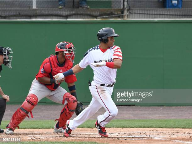 Outfielder Juan Soto of the Potomac Nationals singleA affiliate of the Washington Nationals singles during the bottom of the first inning of a...