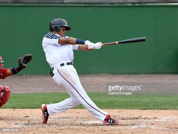 Outfielder Juan Soto of the Potomac Nationals singleA affiliate of the Washington Nationals hits a solo homerun during the bottom of the third inning...