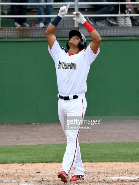 Outfielder Juan Soto of the Potomac Nationals singleA affiliate of the Washington Nationals gives thanks after hitting a solo homerun during the...