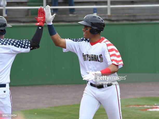 Outfielder Juan Soto of the Potomac Nationals singleA affiliate of the Washington Nationals receives congratulations as he returns to the dugout...