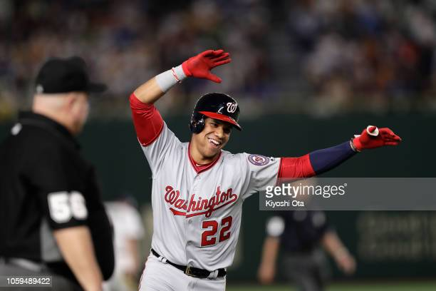 Outfielder Juan Soto of the Washington Nationals celebrates hitting a tworun homer in the top of 6th inning during the game one of the Japan and MLB...
