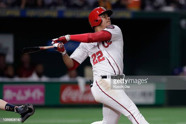 Outfielder Juan Soto of the Washington Nationals hits a solo homer in the bottom of 5th inning during the game two of the Japan and MLB All Stars at...