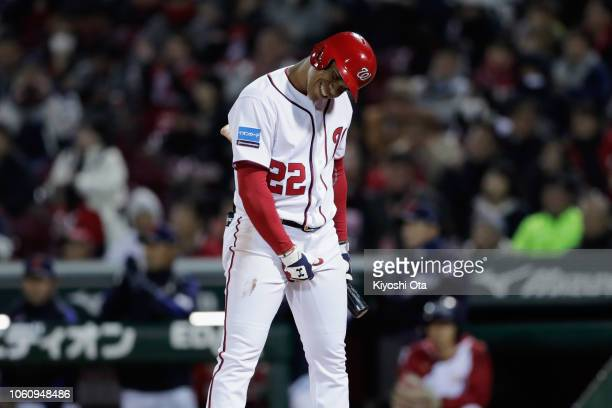 Outfielder Juan Soto of the Washington Nationals strikes out in the bottom of 2nd inning during the game four between Japan and MLB All Stars at...
