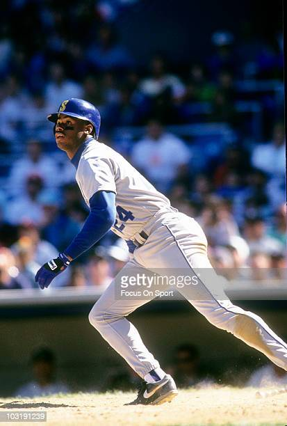 295961e0c6 Outfielder Ken Griffey Jr #24 of the Seattle Mariners swings and watches  the flight of