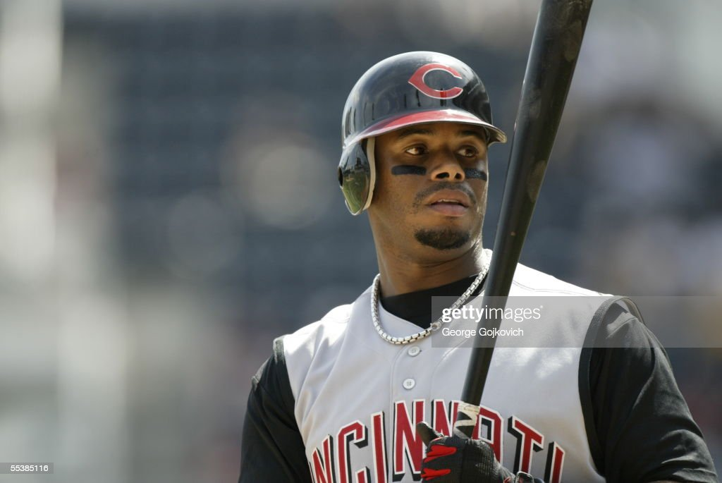 Outfielder Ken Griffey, Jr., of the Cincinnati Reds prepares to bat against the Pittsburgh Pirates at PNC Park on August 28, 2005 in Pittsburgh, Pennsylvania. The Reds defeated the Pirates 7-2.
