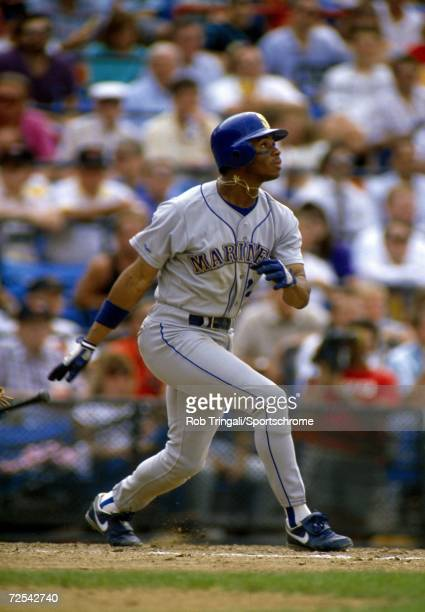 Outfielder Ken Griffey Jr of the Seattle Mariners bats against the Baltimore Orioles at Memorial Stadium in Baltimore Maryland