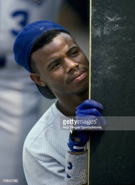 Outfielder Ken Griffey Jr of the Seattle Mariners looks on against the Baltimore Orioles at Memorial Stadium in Baltimore Maryland