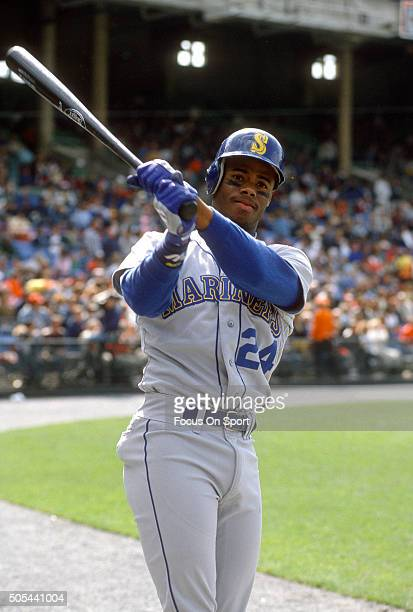 Outfielder Ken Griffey Jr of the Seattle Mariners warms up in the ondeck circle during an Major League Baseball game circa 1989 Griffey played for...