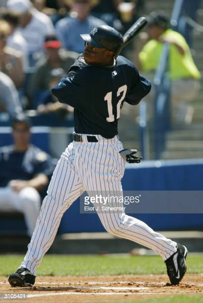 Outfielder Kenny Lofton of the New York Yankees at bat during the Spring Training game against the Toronto Blue Jays on March 6, 2004 at Legends...