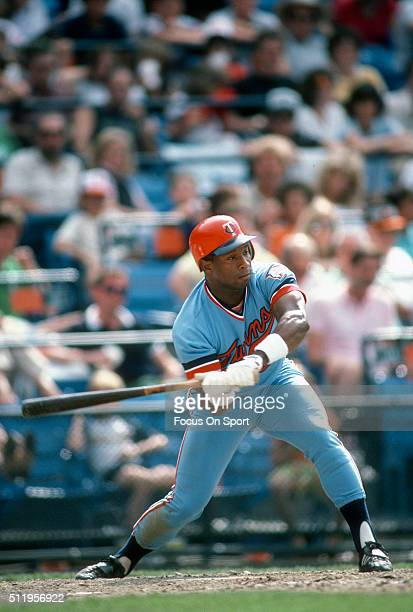 Outfielder Kirby Puckett of the Minnesota Twins bats against the Baltimore Orioles during a Major League Baseball game circa 1984 at Memorial Stadium...