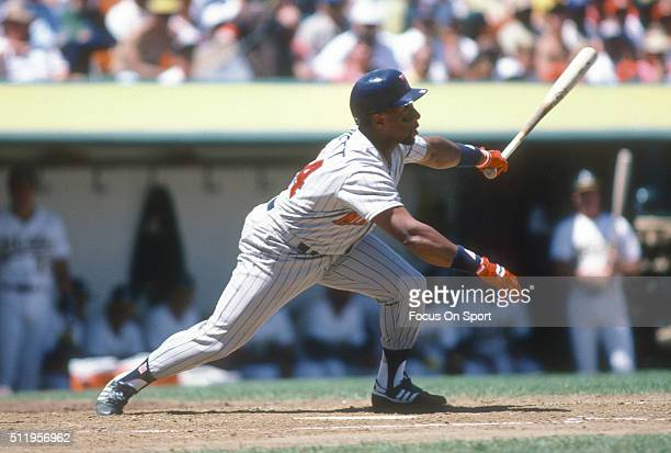 Outfielder Kirby Puckett of the Minnesota Twins bats against the Oakland Athletics during a Major League Baseball game circa 1987 at the...