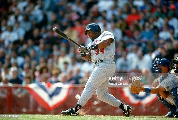 Outfielder Kirby Puckett of the Minnesota Twins bats against the Milwaukee Brewers during a Major League Baseball game circa 1993 at Milwaukee County...