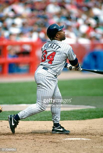 Outfielder Kirby Puckett of the Minnesota Twins bats against the Milwaukee Brewers during a Major League Baseball game circa 1994 at Milwaukee County...