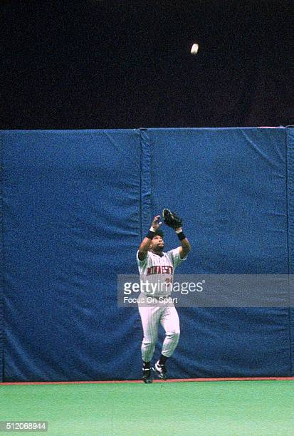Outfielder Kirby Puckett of the Minnesota Twins catches a fly ball against the Atlanta Braves in Game 6 of the World Series October 26 1991 at the...