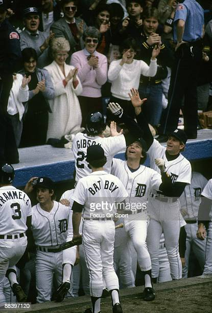 Outfielder Kirk Gibson of the Detroit Tigers high fives teammates after hitting a three run homer off of Goose Gossage of the San Diego Padres in the...