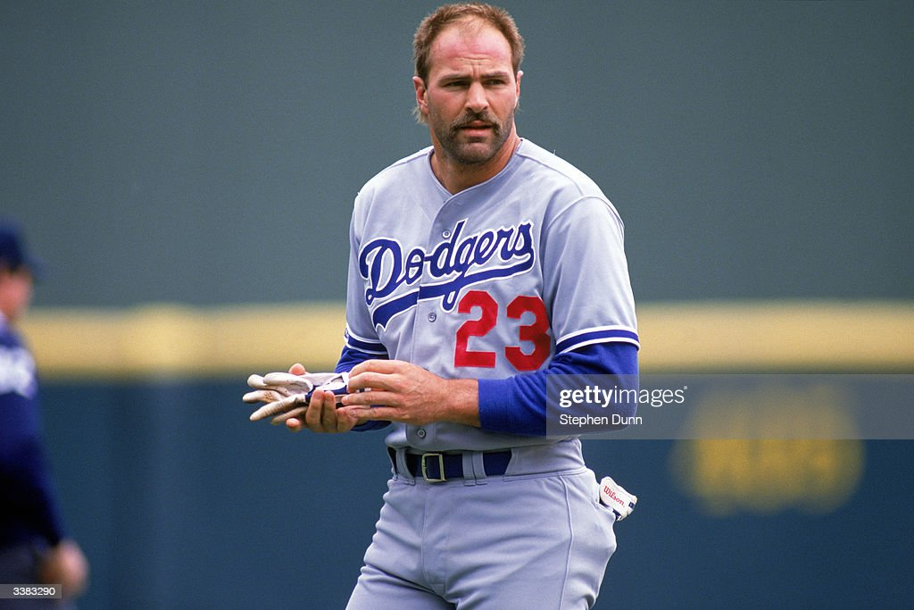 Outfielder Kirk Gibson #23 of the Los Angeles Dodgers with his helmet off during a 1988 season game against the San Diego Padres at Jack Murphy Stadium in San Diego, California.