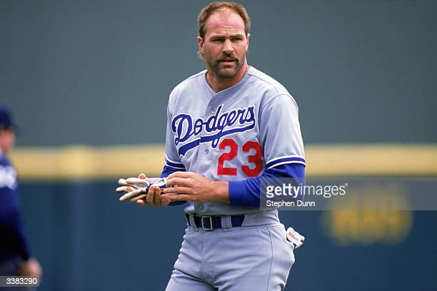 Outfielder Kirk Gibson of the Los Angeles Dodgers with his helmet off during a 1988 season game against the San Diego Padres at Jack Murphy Stadium...