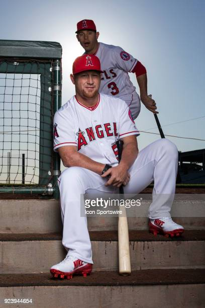 Outfielder Kole Calhoun and Infielder Ian Kinsler poses for a portrait during the Los Angeles Angels Photo Day on Feb 22 2018 at Tempe Diablo Stadium...
