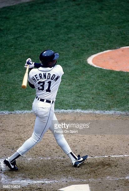 Outfielder Larry Herndon of the Detroit Tigers bats against the San Diego Padres in the world series October 1984 at Tiger Stadium in Detroit...