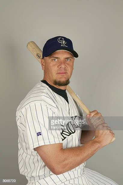 Outfielder Larry Walker of the Colorado Rockies during the 2004 MLB Spring Training Photo Day at Hi Corbett Field on February 28 2004 in Tucson...