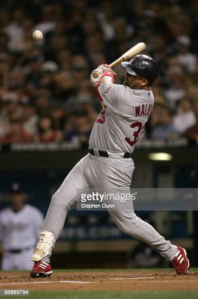 Outfielder Larry Walker of the St Louis Cardinals at bat during Game Three of the 2005 National League Division Series against the San Diego Padres...