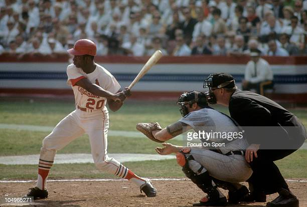 Outfielder Lou Brock of the St Louis Cardinals at the plate waiting on the pitch against the Detroit Tigers during the World Series October 1968 at...