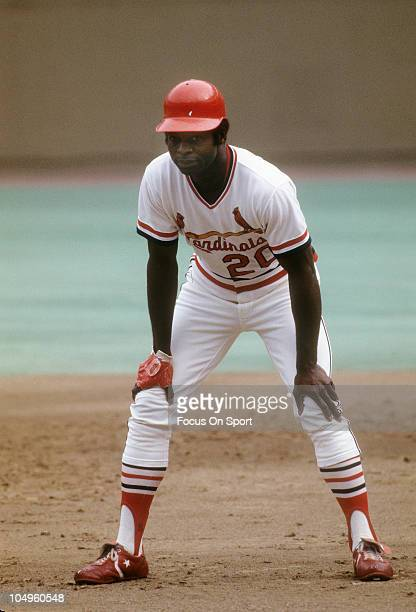 Outfielder Lou Brock of the St Louis Cardinals running the bases during batting practice prior to the start of a Major League Baseball game circa...
