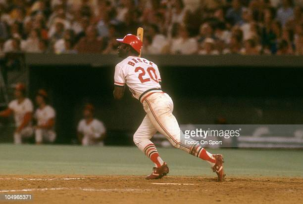 Outfielder Lou Brock of the St Louis Cardinals swings and watchs the flight of his ball during a Major League Baseball game circa 1977 at Busch...