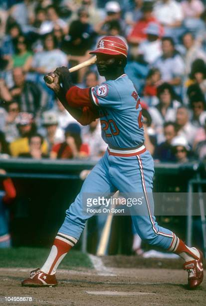 Outfielder Lou Brock of the St Louis Cardinals swings at a pitch during a Major League Baseball game circa 1978 Brock played for the Cardinals from...